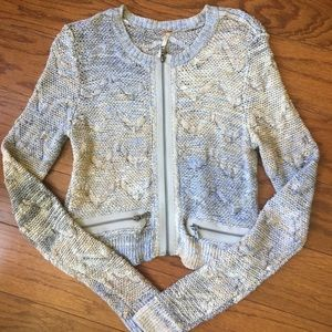 •Free People• nubby zip-up sweater (NWT)